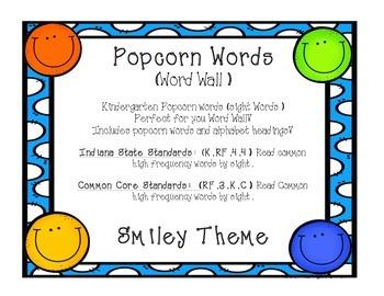 Kindergarten Sight Words - Word Wall Smiley Theme