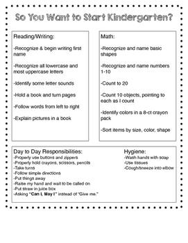 Kindergarten Skills Handout