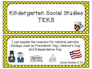 Kindergarten Social Studies TEKS Cards~ Bee Theme