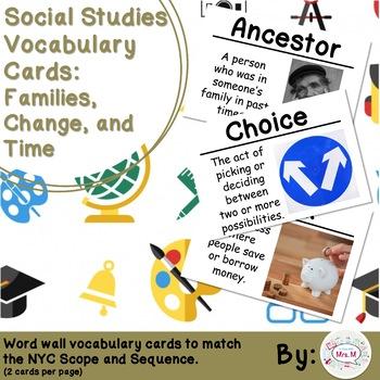 Kindergarten Social Studies Vocabulary Cards: Families (Large)