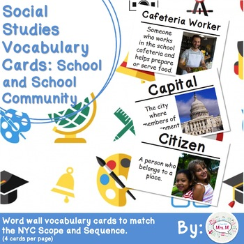 Kindergarten Social Studies Vocabulary Cards: School and S
