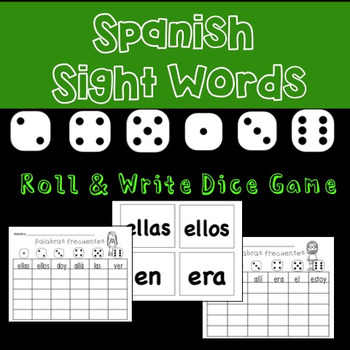Spanish Sight Word Center: Roll & Write  / Palabras frecuentes