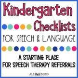 Kindergarten Speech and Language Checklists