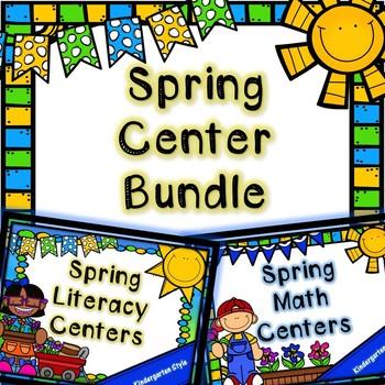 Kindergarten Spring Center Bundle - Spring Math and Litera
