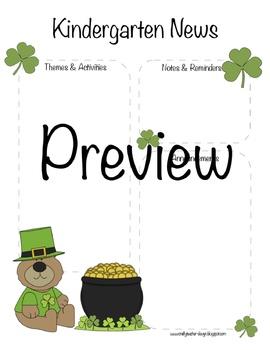 Kindergarten St Patrick's Day, March Newsletter