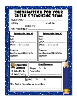 Kindergarten Student Information Sheets (png files)