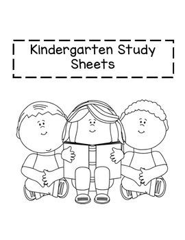 Kindergarten Study Sheets