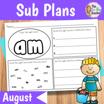 Kindergarten Sub Plans August