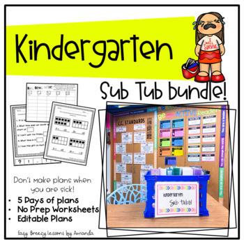 Kindergarten Sub Tub (1 Week Full Substitute Plans No Prep)