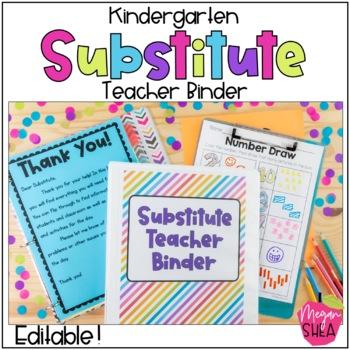Kindergarten Substitute Teacher Binder with Plans, Forms a