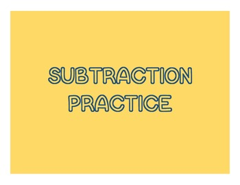 Kindergarten Subtraction Practice
