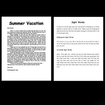 Kindergarten Summer Vacation Packet