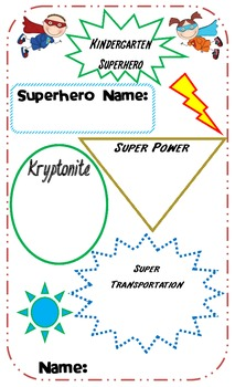 Kindergarten Superhero All About Me Poster