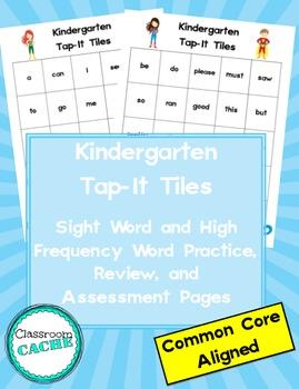 Kindergarten Superhero Tap-It Tiles: Sight Word and High F