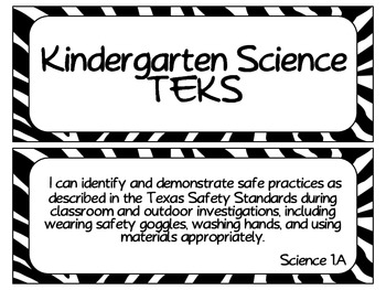 Kindergarten TEKS Bundle ~Black and White Zebra