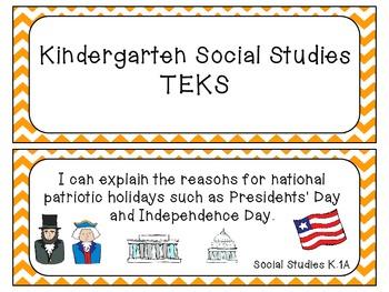 Kindergarten TEKS Cards Chevron Bundle