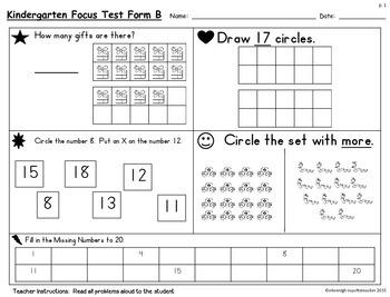 Kindergarten TEKS Focus Test/Benchmark Form BApril/May RTI