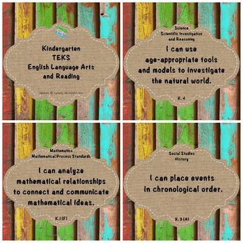 "Kindergarten TEKS ""I Can"" Statements Upcycled Bright Wood"