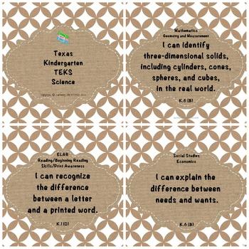 "Kindergarten TEKS ""I Can"" Statements: Upcycled & Shabby Kr"