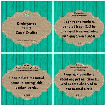 "Kindergarten TEKS ""I Can"" Statements: Upcycled Turquoise W"
