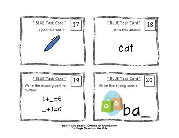 Kindergarten Task Cards - 80 Card Bundle!