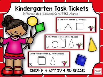 Kindergarten Task Tickets: Math: Classify & Sort 2D/3D Sha