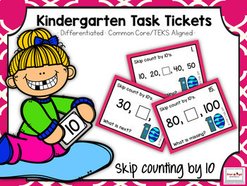 Kindergarten Task Tickets: Math: Skip Counting by 10 to 10