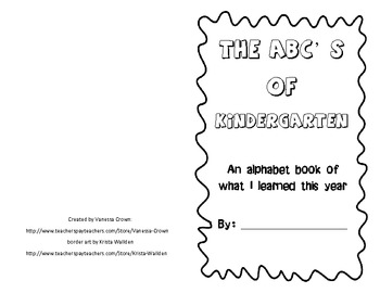 Kindergarten- The ABC's of What I Learned This Year- end o
