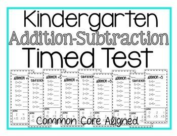 Kindergarten Timed Add/Subtraction Test by Tara West | Teachers ...