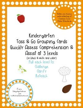 Kindergarten  Toss & Go Grouping Cards Quickly Assess Comp
