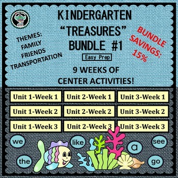 "Kindergarten  ""Treasures""  Reading Bundle #1        Unit 1"