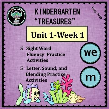 Kindergarten Treasures Unit 1 Week 1   Sight Word we   Phonics m