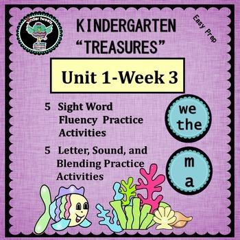 """Kindergarten """"Treasures"""" Unit 1  Week 3   Sight Words we t"""