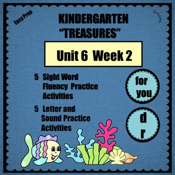 Kindergarten Treasures Unit 6 Week 2   Sight Words  for  y