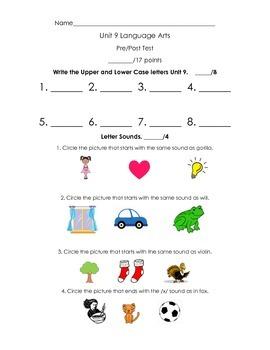 Kindergarten Treasures Unit 9 Pre/Post Assessment