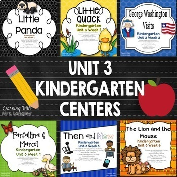 Kindergarten Unit 3 Bundle