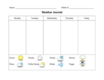Kindergarten Weather Journal