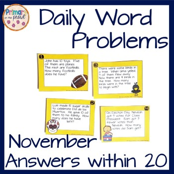 Kindergarten Wednesday Word Problems- November
