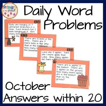 Kindergarten Wednesday Word Problems- October