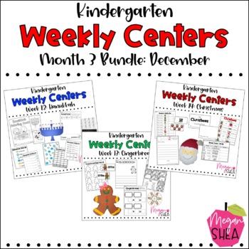 Kindergarten Weekly Centers Month Four BUNDLE December