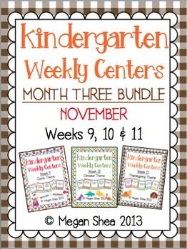 Kindergarten Weekly Centers Month Three BUNDLE November