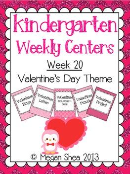 Kindergarten Weekly Centers Week 20 Valentines Theme