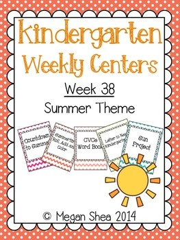 Kindergarten Weekly Centers Week 38 Summer Theme