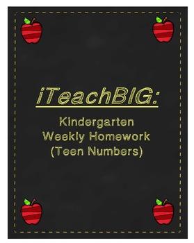 Kindergarten Weekly Homework (Teen Numbers)