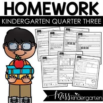 Kindergarten Weekly Homework {quarter three}