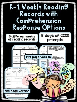EDITABLE K/1 Weekly Fiction Reading Records w/ Comprehensi