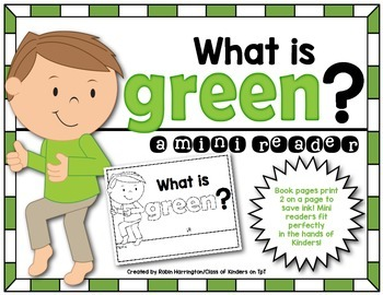 Kindergarten {What is Green?} Early Emergent Reader for Re