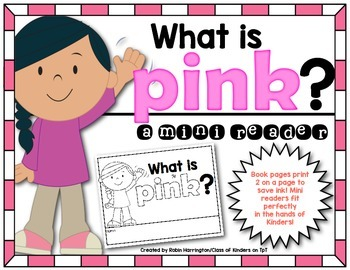Kindergarten {What is Pink?} Early Emergent Reader for Rea
