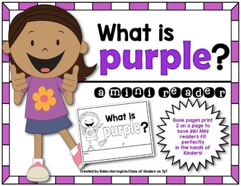 Kindergarten {What is Purple?} Early Emergent Reader for R
