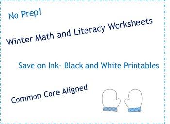 Kindergarten Winter Math and Literacy No Prep Black & Whit